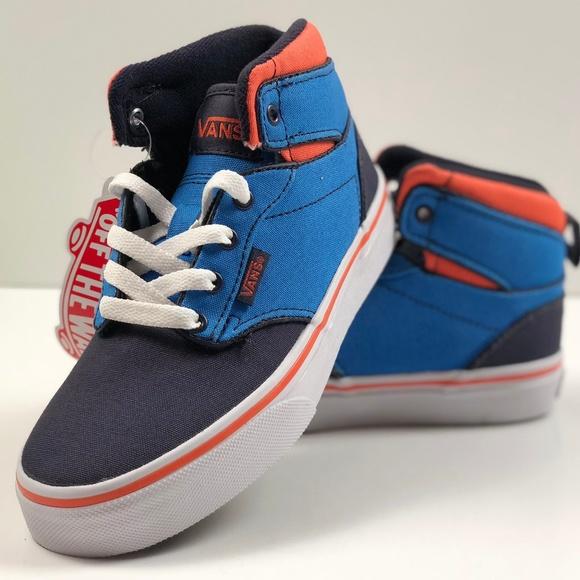 f1ae2b0a24576a Vans Atwood Hi Canvas Blue Orange Skate Kids Shoes